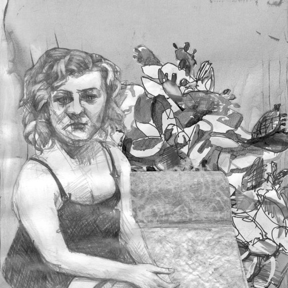 black and whiteΣτο φουαγέ 2015 collage, μολύβι, μελάνι σε χαρτί, 27χ21εκ. Ιδιωτική συλλογή
