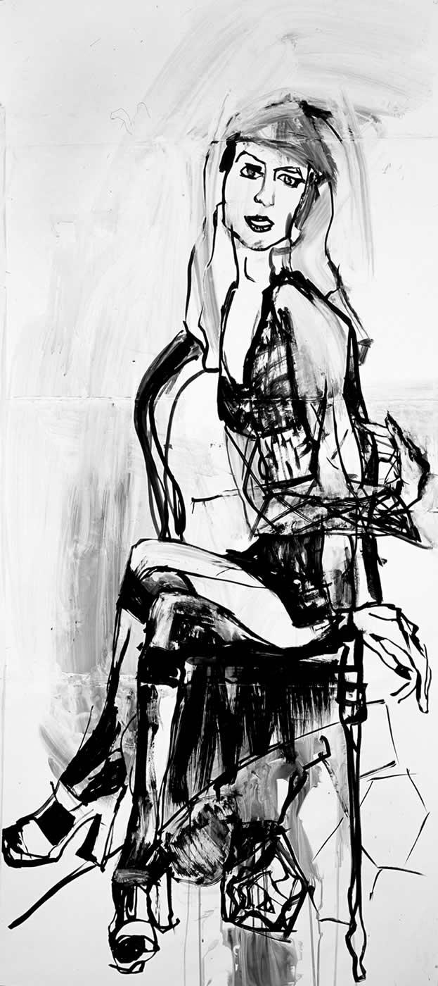 women Mina 2003,ink on paper, 225 x 100 cm.Agathi Kartalos-Private collection