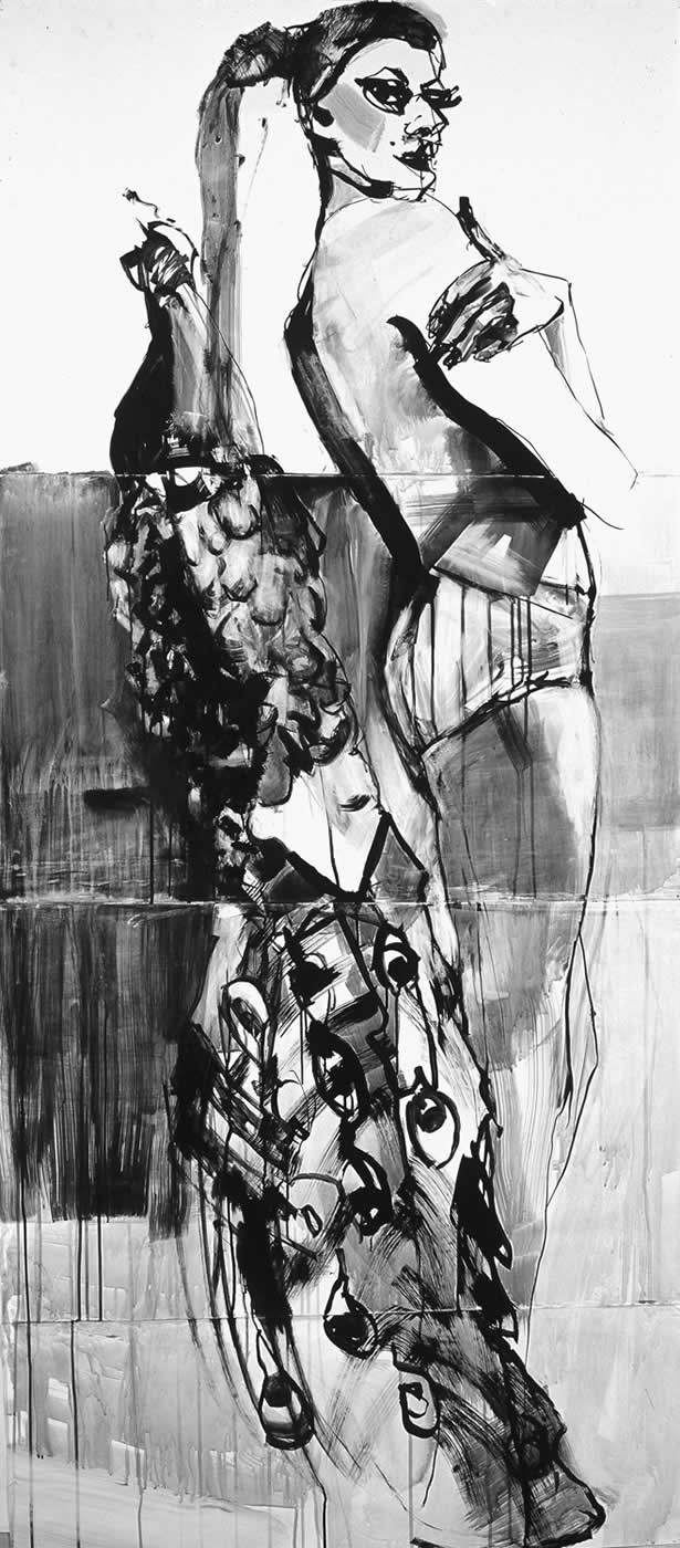 women Peacock 2003, ink on paper 225 x 100 cm. Agathi Kartalos-Private collection