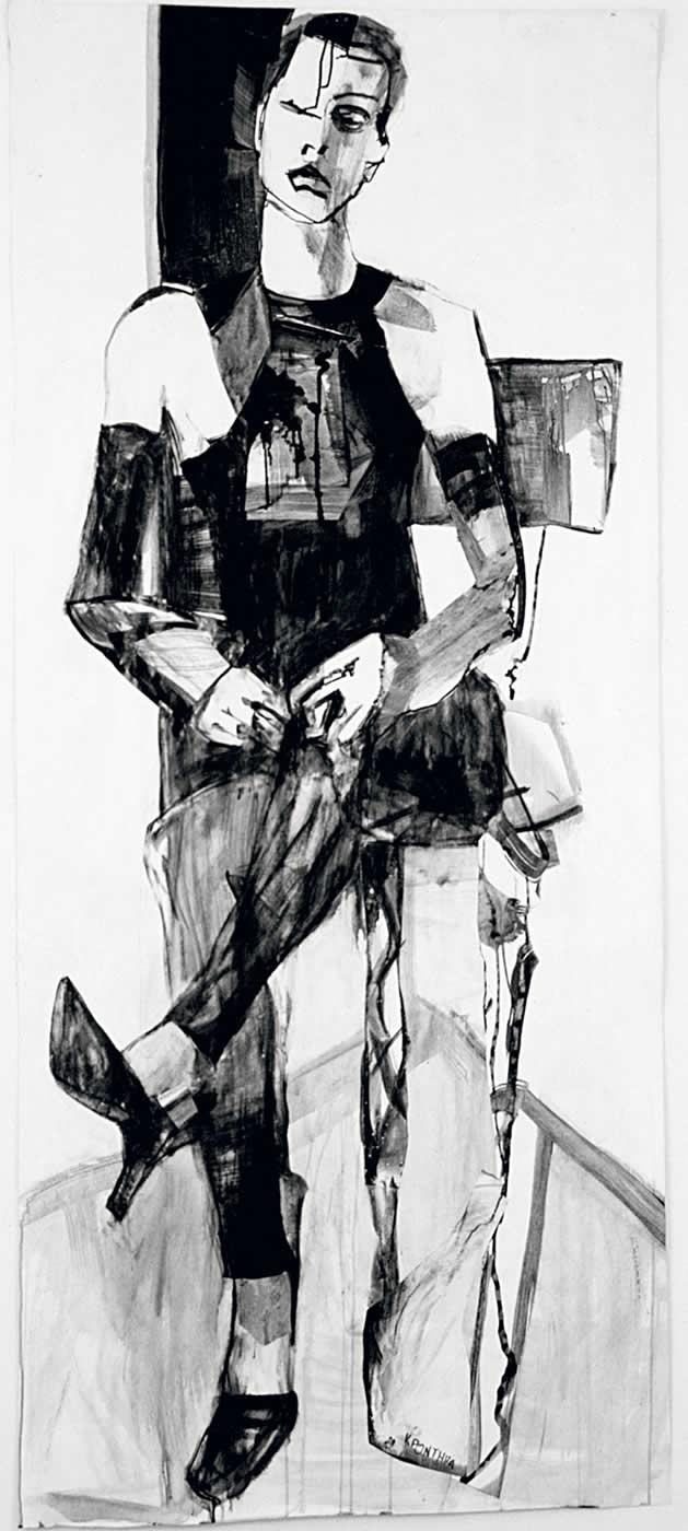γυναίκες Paola 2003, μελάνι σε χαρτί 225 x 100 εκ. Agathi Kartalos-Ιδιωτική συλλογή