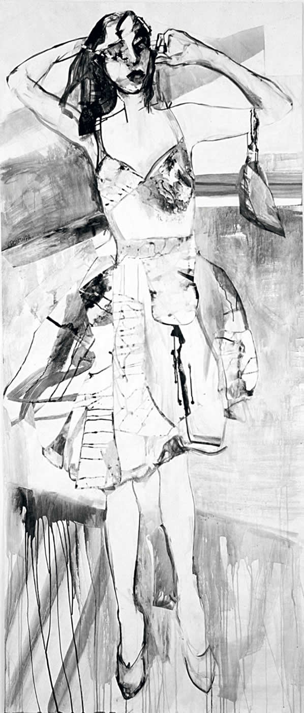 women Faye 2003, ink on paper,225 x 100 cm. Agathi Kartalos-Private collection