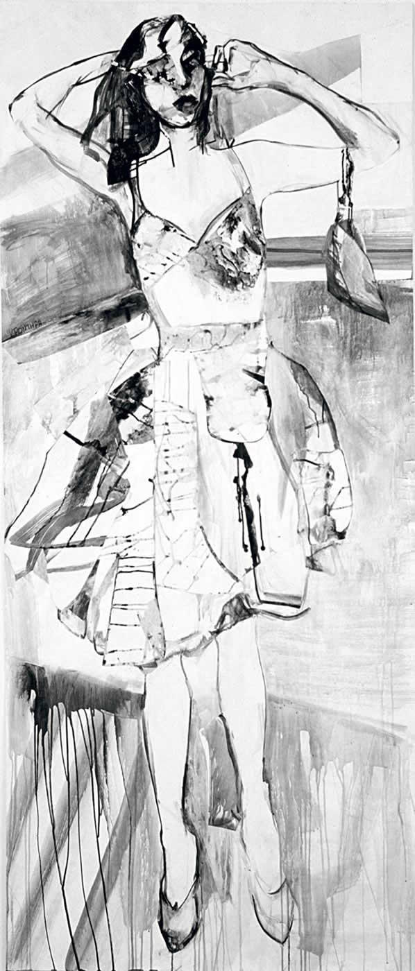 γυναίκες Φαίη 2003, μελάνι σε χαρτί 225 x 100 εκ. Agathi Kartalos-Ιδιωτική συλλογή