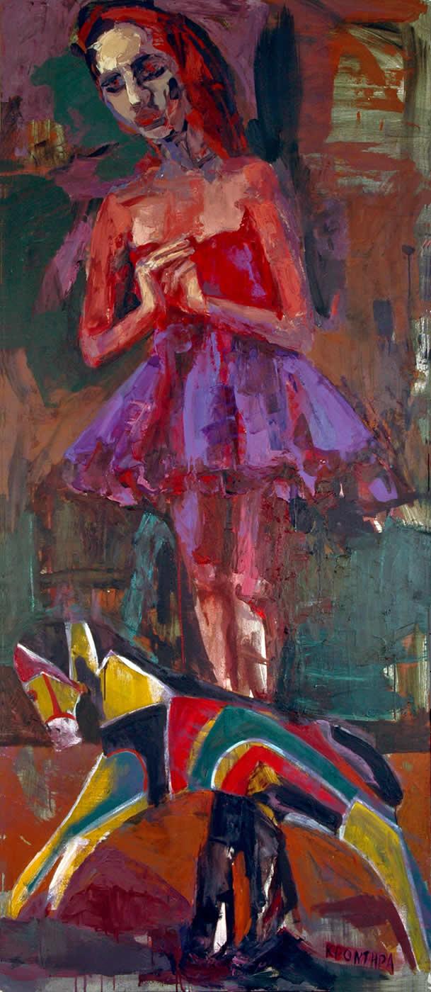 angels The toy 2006,oil on canvas, 225χ100cm. Αgathi Kartalos-Private collection