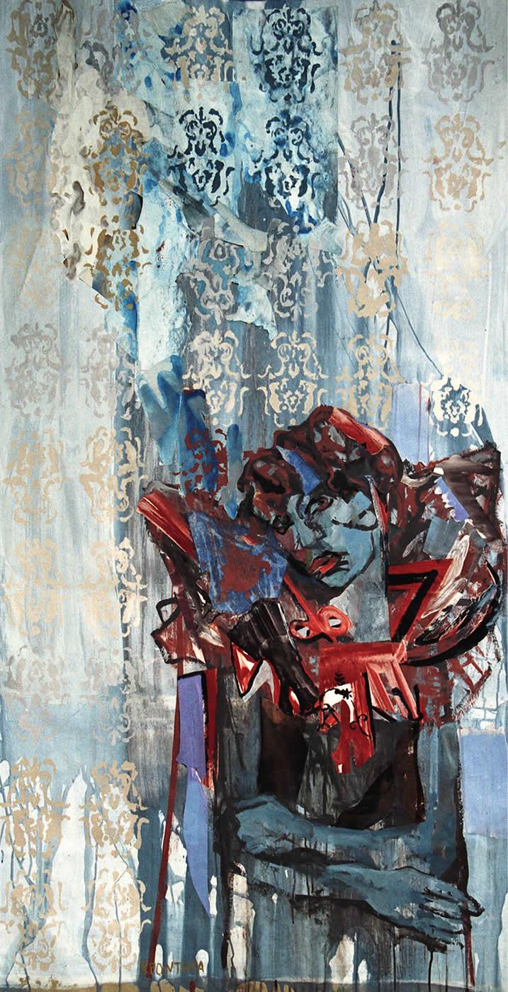 Angel 2004 , ακρυλικά- collage σε χαρτί 150 x 100 εκ.Αgathi Kartalos-Ιδιωτική συλλογή