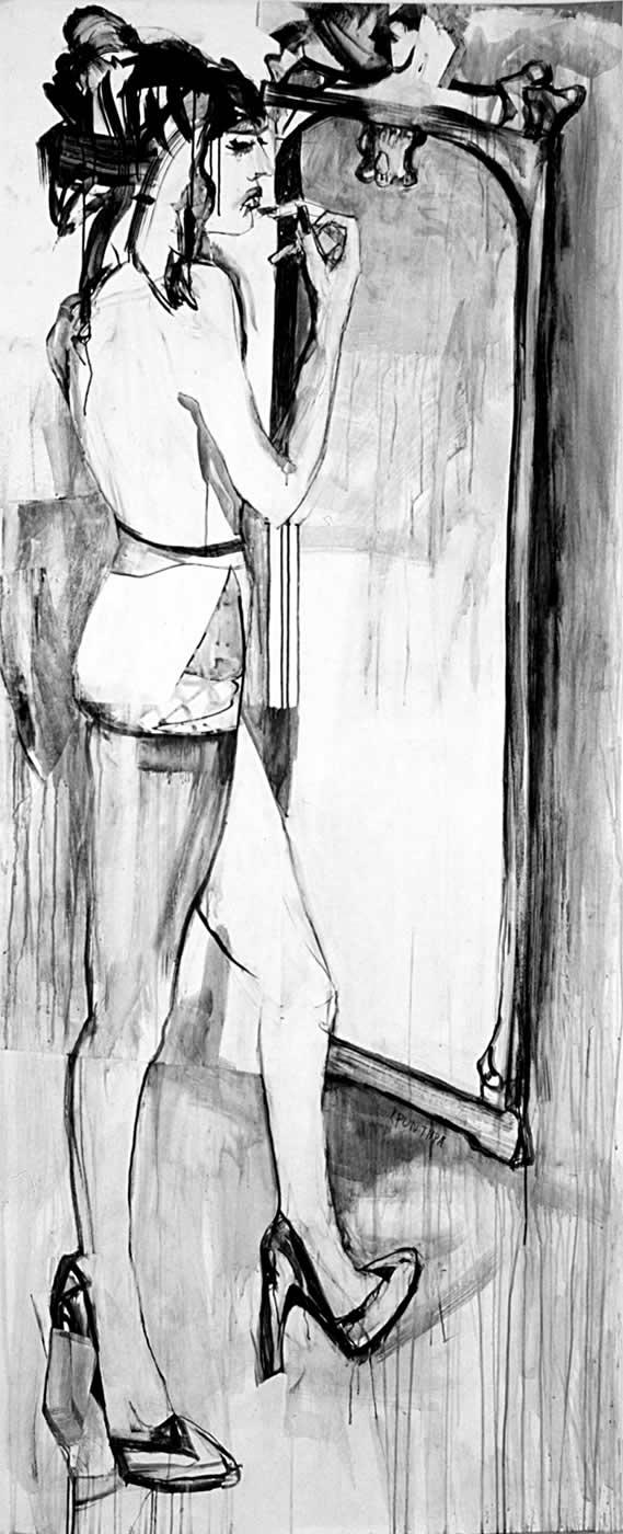 γυναίκες Ο καθρέπτης 2003, μελάνι σε χαρτί, 225χ100εκ. Agathi Kartalos-Ιδιωτική συλλογή