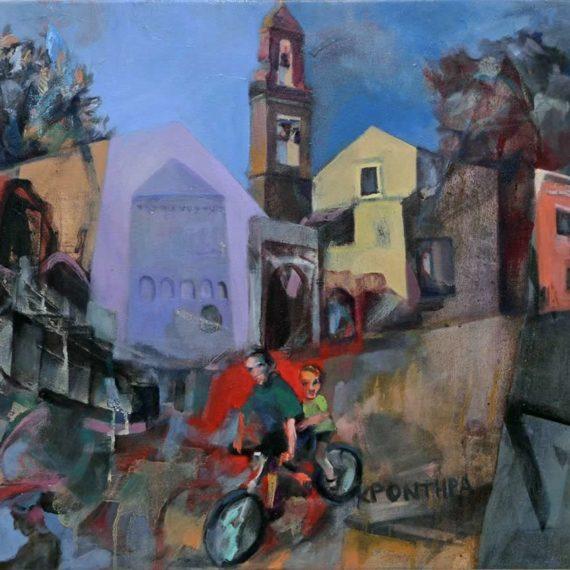 urban A walk by bicycle 2017, oil on canvas50χ70εκ. Chris Boicos Fine Arts