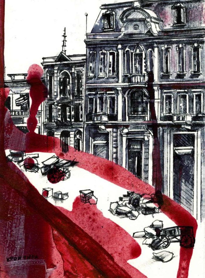 αστικά τοπία Όμορφη Πόλη 2012, μικτή τεχνική σε χαρτί,21χ15εκ. Ιανός gallery-Ιδιωτική συλλογή