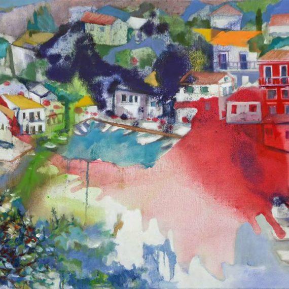 αστικά τοπία Στο Λογγό 2017, λάδι σε καμβά, 85χ55εκ. Chris Boicos Fine Arts