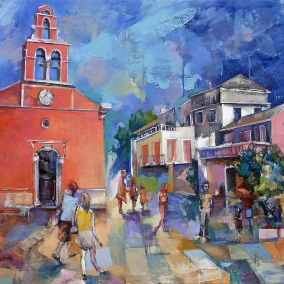 αστικά τοπία Στον Γάιο 2017,λάδι σε καμβά,105x115εκ. Chris Boicos Fine Arts