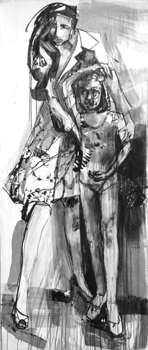 back to black 2018 The lesson , ink on paper, 230χ100εκ. Agathi Kartalos