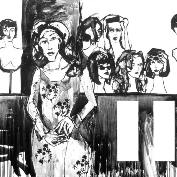 black and white Το μαγαζί με τις περούκες 2003, μελάνι σε χαρτί, 120χ160cm. Agathi Kartalos-Ιδιωτική συλλογή