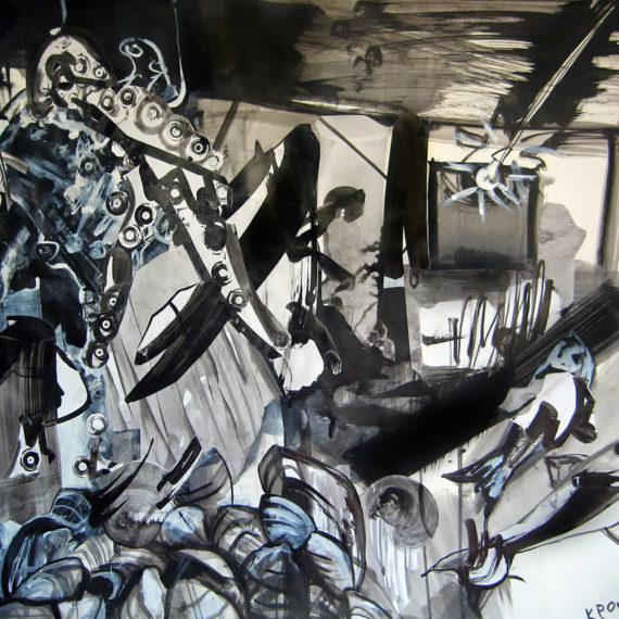 black and white:H ψαραγορά 2008, μελάνι σε χαρτί, 50 x 70 εκ. Μουσείο Αίγινας-Ιδιωτική συλλογή