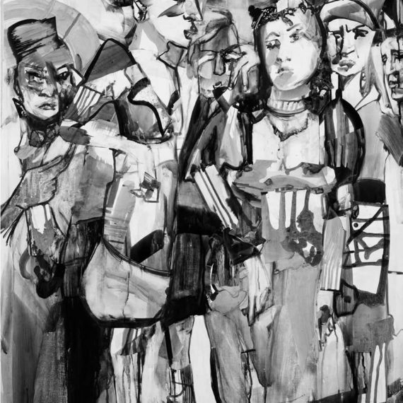 black and white Tribute to Dionisios Solomos 2007, ink on paper, 103χ76cm. Agathi Kartalos-Private collection.