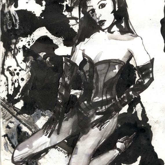 black and white The show 2013, ink on paper, 28χ22cm.Private collection.