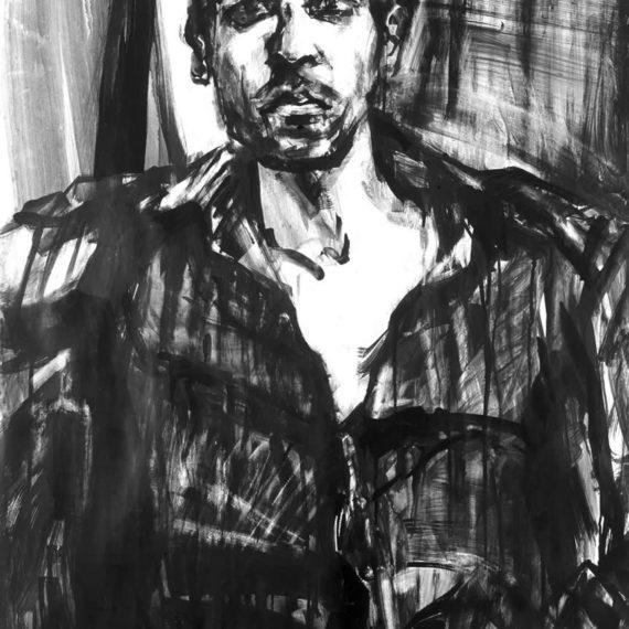 black and white John 2002, ink on paper, 100χ80cm.
