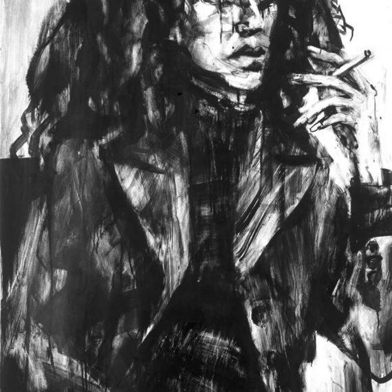 black and white Alexandra 2002,ink on paper, 100χ80cm.-Private collection