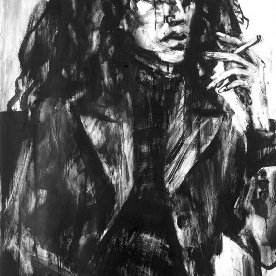 black and white Αλεξάνδρα 2003, μελάνι σε χαρτί, 100χ80εκ.-Ιδιωτική συλλογή