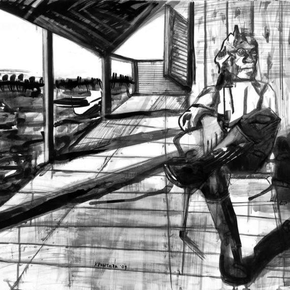 black and white Λιμνοθάλασσα 3 2009, μελάνι σε χαρτί 70 x 100 εκ.
