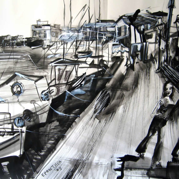 black and white The promenade 2008, ink on paper 50 x 70 cm. Private collection