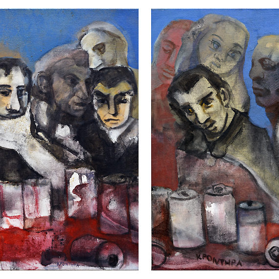 portraits Last Supper,oil on canvas, (diptych) 60 x 100 cm.