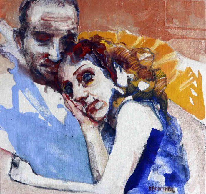 πορτρέτα Φιόνα και Ηλίας 2014, λάδι σε καμβά 60χ70 εκ. Συλλογή Μοσχανδρέου.