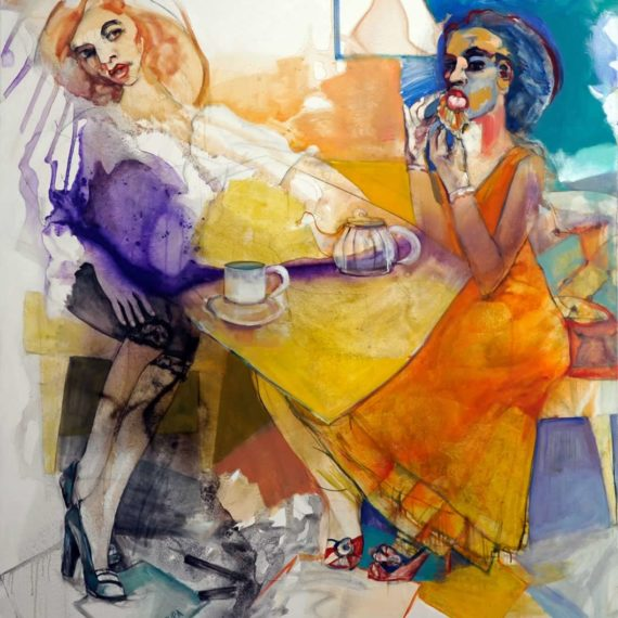 portraits Tea time 2012, oil on canvas, 180 x160 cm.